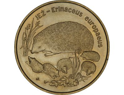 2 zł – Jeż (łac. Erinaceus europaeus)