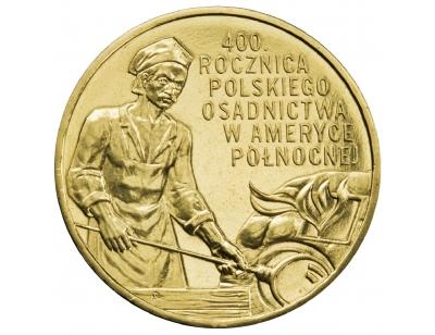 2 zł – 400. rocznica polskiego osadnictwa w Ameryce Północnej