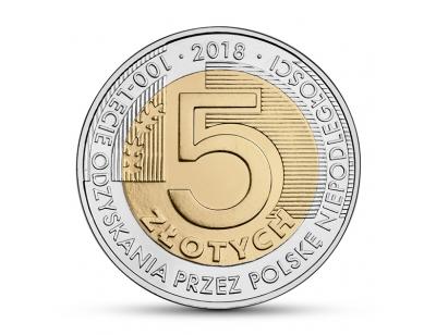5zł – 100-lecie odzyskania przez Polskę niepodległości